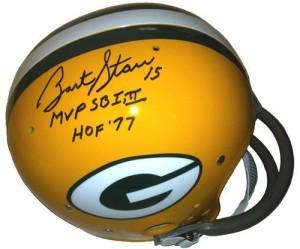 Bart Starr autographed helmet