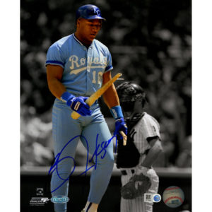 Bo Jackson signed Royals broken bat photo