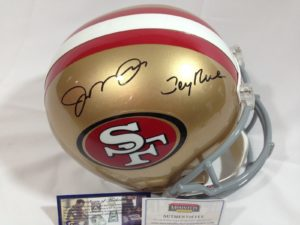 Autographed Joe Montana-Jerry Rice helmet