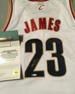 Le Bron James autographed jersey