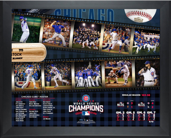 Cubs framed 2016 World Series collage results